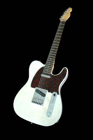 cream colored custom built telecaster electric guitar.