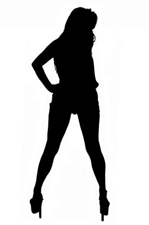 silhouetted rear view of long legged woman in high heels.