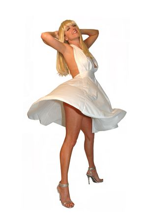 pretty blond woman with white dress blowing up.