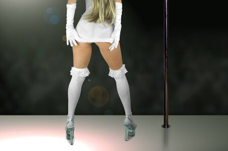 female stripper wearing white dress, stockings and high heels.