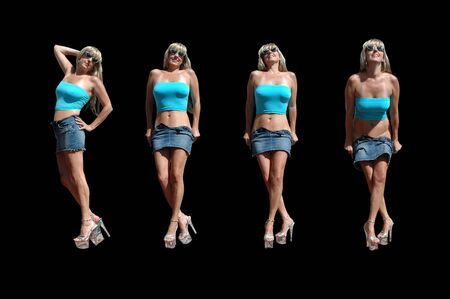 4 frame shot of sexy blond doing a striptease with her miniskirt.
