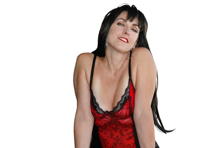red corset: pretty brunette woman wearing a red corset.