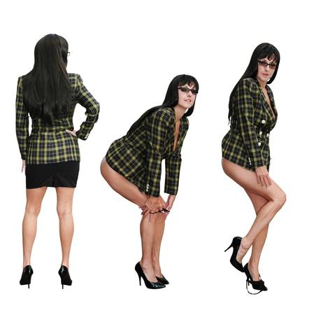 brunette business woman removing her panties from beneath her skirt. Banco de Imagens