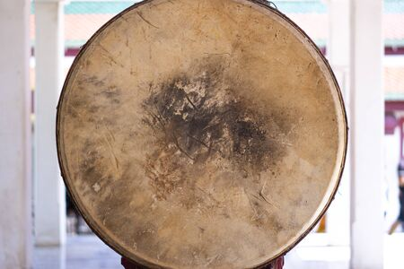 Texture of old brown antique drumhead surface