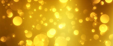 golden particles shining stars dust bokeh glitter awards dust abstract background. Futuristic glittering in space on gold color background.