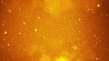 golden particles shining stars dust bokeh glitter awards dust abstract background. Futuristic glittering in space on gold background.