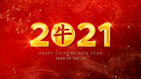 Happy Chinese New Year 2021, Year Of The Ox also known as the Spring Festival on red background.