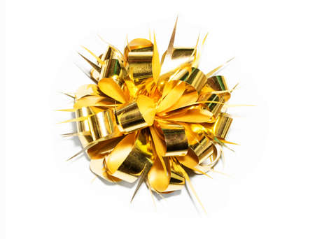 gold fancy gift bow Stock Photo