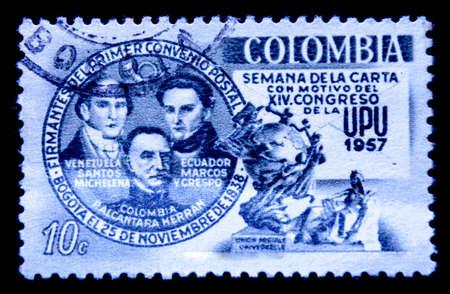 upu: postage stamp columbia Editorial