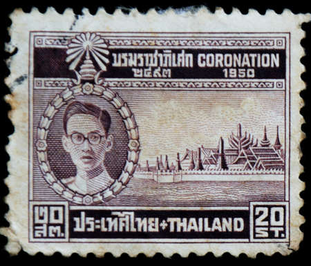 bhumibol: postage stamp shows image of King Bhumipol Adulyadej Editorial
