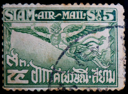 Siam air mail, Postage Stamp Editorial