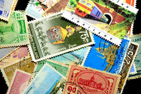 ix portrait: postage stamps Thailand background