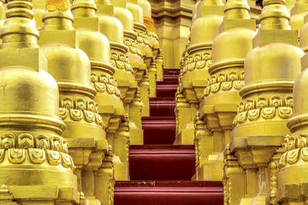 gloden: gloden Pagoda Temple  watpasawangboon 500 pagodas golden pagodaSaraburiThailand.