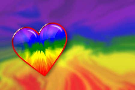 corazones azules: corazón de arco iris Foto de archivo
