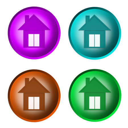 violet residential: home icon Stock Photo