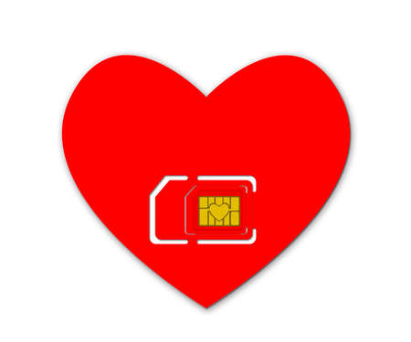 simcard: Red heart with simcard
