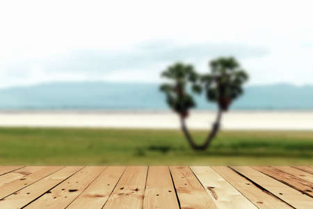 Wooden deck table Stock Photo