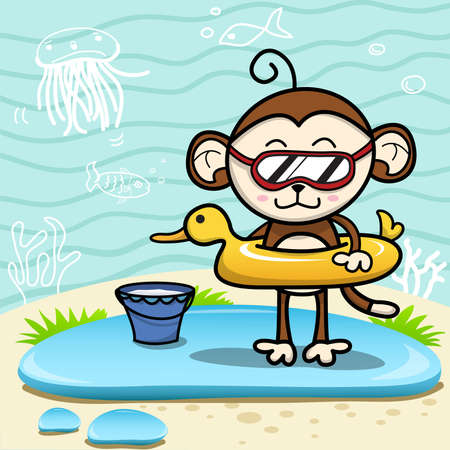 Monkey at the beach with toys Illustration