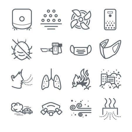 Air pollution line icon set