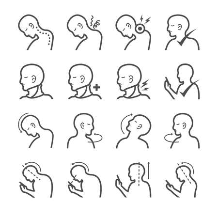 Text neck syndrome icons set