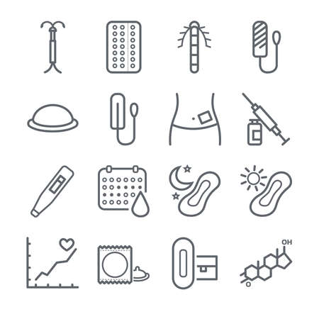 Menstruation in various icons set Vectores