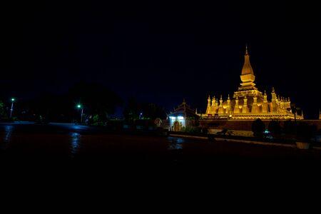 Pha tat Luang stupa gold large vientiane laos at night