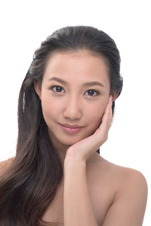 perfect face: asian woman on white background