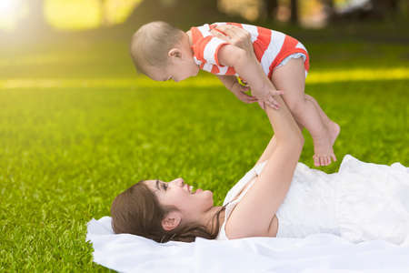 mother baby: mother and son Stock Photo