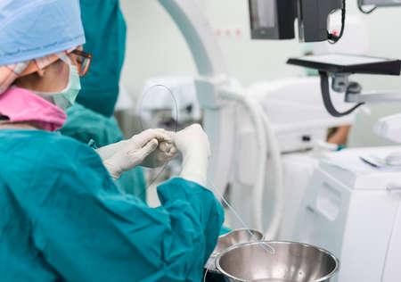 lab tech: endovascular intervention Stock Photo