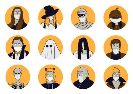 Halloween with Mask icons set