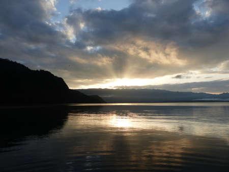 Sunset over Lake in Chiapas