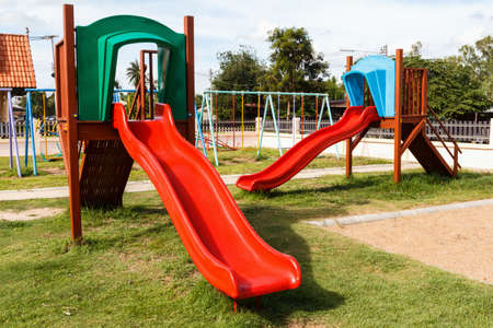 Colorful playground equipment at an outdoor park Stock Photo - 21744257
