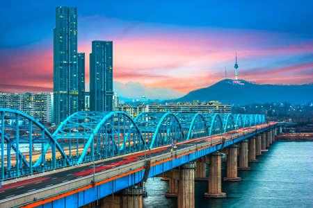 Twilight and traffic at Seoul,South Korea