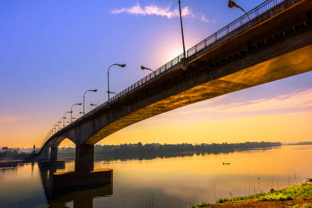 thai-lao borden bridge Stock Photo