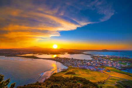 Jeju city skyline and twilight,South Korea