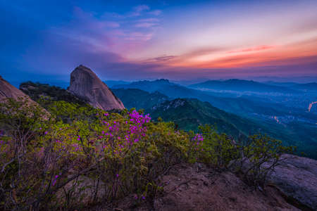 Sunrise at Bukansan Seoul,South Korea Stock Photo