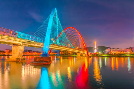 Colorful bridge and reflection Stock Photo