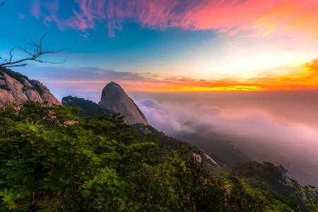 Sunrise of Bukhansan mountain in Seoul, South Korea