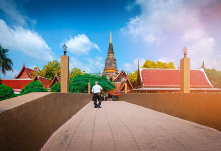 Landscape of A pagoda of Wat Yai Chaimongkol Temple is the famous Temple in Ayutthaya province, Thailand