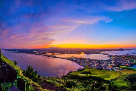 Jeju city skyline and twilight,Jeju island ,South Korea
