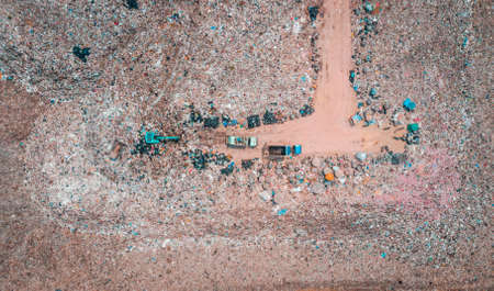 Large garbage pile, degraded garbage. Pile of stink and toxic residue  Garbage pile in trash dump or landfill - Recycling industry, Birds-eye view