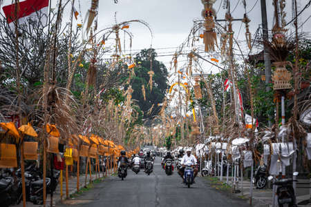 BALI,INDONESIA-AUGUST 18,2019:On both sides of the road on Bali, there is a shrine in front of every house,Bali island,Indonesia