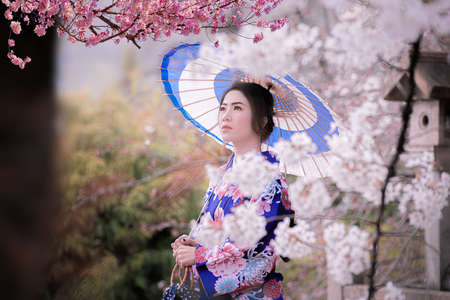 Asian woman wearing japanese traditional kimono and cherry blossom in spring, Kyoto,Japan