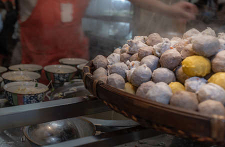 Fish ball,meat ball,pork ball is Traditional food at Jiufen in Taiwan