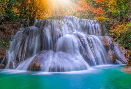 Huai Mae Kamin waterfall (Third Level) Srinakarin Dam in Kanchanaburi, Thailand.