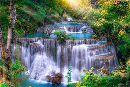 Huai Mae Kamin waterfall(Fourth level) Srinakarin Dam in Kanchanaburi, Thailand Reklamní fotografie
