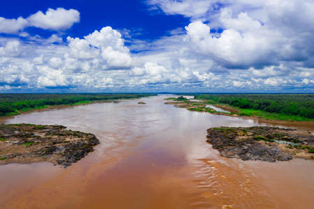 The narrowest point of the Mekong River border Thailand and Laos at Ubon Ratchathani Province