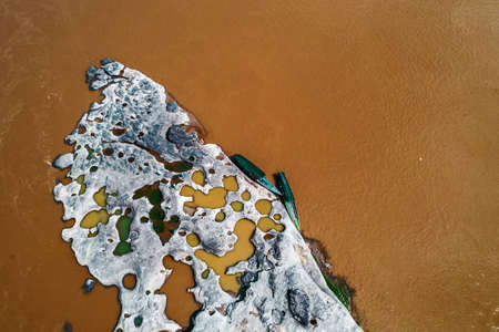 Aerial view of Thailand grand canyon (sam phan bok) at Ubon Ratchathani, Thailand. Beautiful landscape of holes and rock mountain with river Stok Fotoğraf