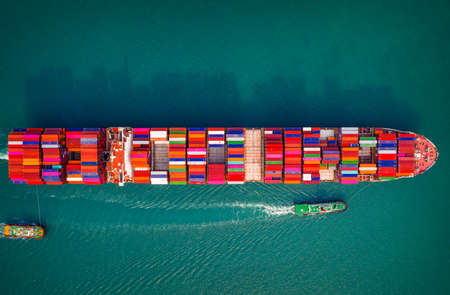 Container ship in export and import business and logistics. Aerial view Stok Fotoğraf
