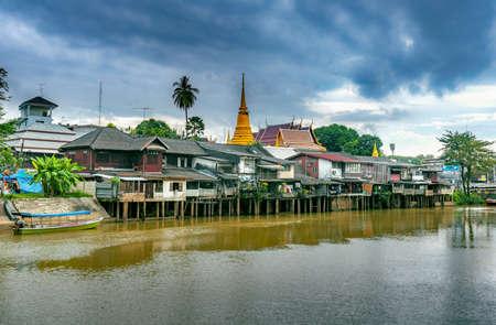 Chanthaburi river ,Classical Village near river, Chanthaburi Old Town Waterfront,Thailand Stok Fotoğraf